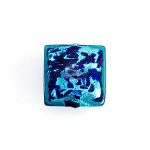 Perla di Murano quadrata 18 mm in vetro sommerso acquamare foglia argento e dettagli blu. Foro passante