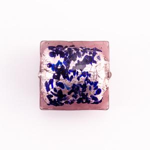 Perla di Murano quadrata 18 mm in vetro sommerso ametista foglia argento e dettagli blu. Foro passante