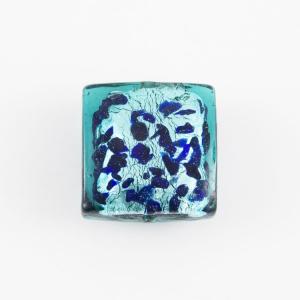 Perla di Murano quadrata 18 mm in vetro sommerso verde marino foglia argento e dettagli blu. Foro passante