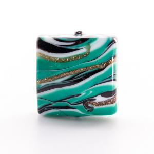 Perla di Murano quadrata 18 mm, vetro in pasta verde, bianco e nero con avventurina