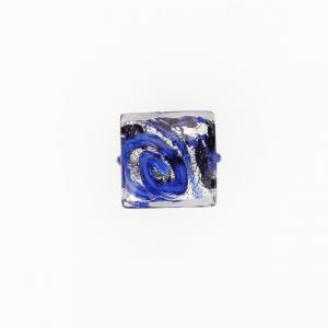 Perla di Murano quadrata Medusa Ø14. Vetro blu, foglia argento, vetro blu e avventurina. Foro passante.
