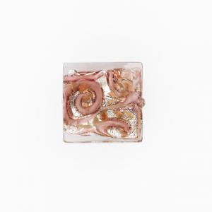 Perla di Murano quadrata Medusa Ø18. Vetro rosa, foglia argento e avventurina. Foro passante.