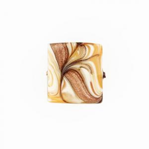 Perla di Murano schissa Fenicio Ø18. Vetro ambra, avorio, topazio e avventurina. Foro passante.