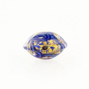 Perla di Murano schissa Medusa Ø14. Vetro blu lapis, azzurro, foglia oro e avventurina. Foro passante.