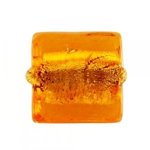 Perla di Murano schissa quadrata Ø12. Vetro sommerso topazio, foglia oro. Foro passante.