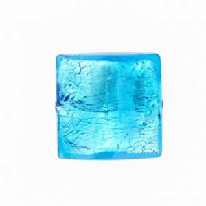 Perla di Murano schissa quadrata Ø18. Vetro sommerso acquamare scuro, foglia argento. Foro passante.
