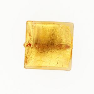 Perla di Murano schissa quadrata Ø18. Vetro sommerso ambra, foglia oro. Foro passante.
