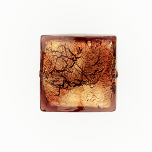 Perla di Murano schissa quadrata Ø18. Vetro sommerso ametista, foglia oro. Foro passante.