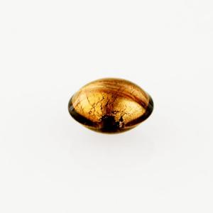 Perla di Murano schissa Sommersa Ø14. Vetro ametista e foglia oro. Foro passante.