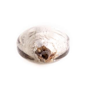 Perla di Murano schissa Sommersa Ø14. Vetro grigio e foglia argento. Foro passante.
