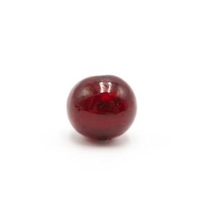 Perla di Murano sommersa Ø14. Vetro color rosso e foglia oro. Foro passante