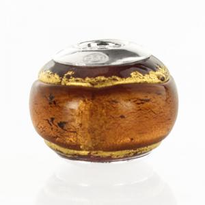 Perla di Murano stile Pandora Bicolore Ø13. Vetro ametista, foglia oro. Borchia argento 925. Foro passante.