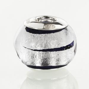Perla di Murano stile Pandora Bicolore Ø13. Vetro blu, foglia argento. Borchia argento 925. Foro passante.