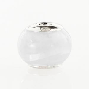 Perla di Murano stile Pandora Sommersa Ø13. Vetro bianco, trasparente. Borchia argento 925. Foro passante.