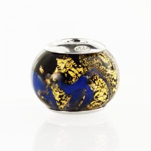 Perla di Murano stile Pandora Sommersa Ø13. Vetro blu, foglia oro. Borchia argento 925. Foro passante.