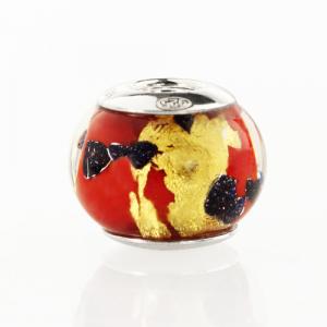 Perla di Murano stile Pandora Sommersa Ø13. Vetro rosso, avventurina blu, foglia oro. Borchia argento 925. Foro passante.