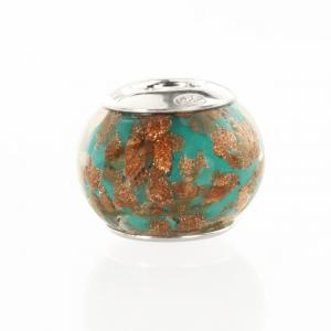 Perla di Murano stile Pandora Sommersa Ø13. Vetro verde e avventurina. Borchia argento 925. Foro passante.