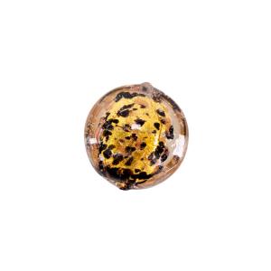 Perla di Murano tonda schiacciata 14 mm in vetro sommerso foglia oro e dettagli neri. Foro passante