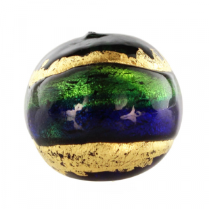 Perla di Murano tonda Sommersa Ø16. Vetro blu, verde, foglia oro. Foro passante.