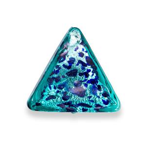 Perla di Murano triangolare 25 mm per gioielli vetro, vetro sommerso verde foglia argento . Foro passante.