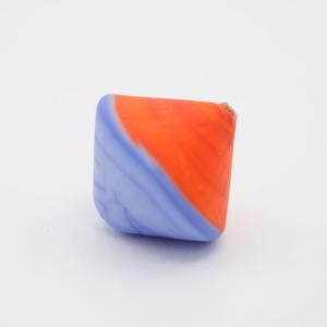 Perla Murano bicono satinato Ø18 mm h17 bicolore arancio/acquamare pasta di vetro