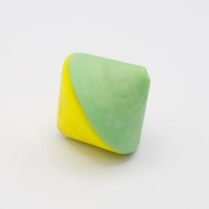 Perla Murano bicono satinato Ø18 mm h17 bicolore giallo/verde chiaro pasta di vetro