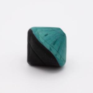 Perla Murano bicono satinato Ø18 mm h17 bicolore nero/verde pasta di vetro
