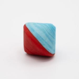 Perla Murano bicono satinato Ø18 mm h17 bicolore rosso/acquamare pasta di vetro