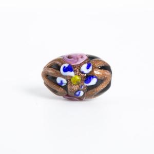 Perla nera vetro di Murano a oliva 18 mm con foro passante e decori floreali a smalto