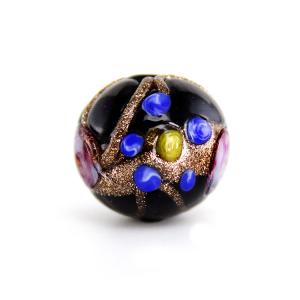 Perla nera vetro Murano tonda Ø16. Fiorata con applicazioni a caldo in avventurina e paste policrome.