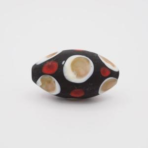 Perla oliva Tribale Ø14 x 26 mm vetro Murano pasta opaca nera rosso/bianco/avventurina con foro passante per bigiotteria