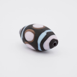 Perla oliva Tribale Ø26 vetro Murano pasta opaca nera azzurro/rosa/avventurina con foro passante per bigiotteria