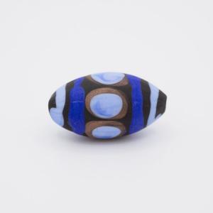 Perla oliva Tribale Ø26 vetro Murano pasta opaca nera blu/acquamare/avventurina con foro passante per bigiotteria