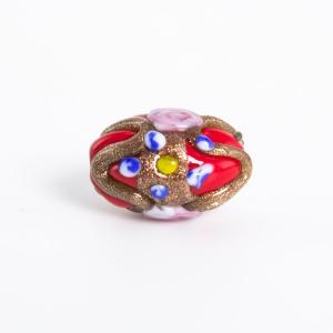 Perla rossa vetro di Murano a oliva 18 mm con foro passante e decori floreali a smalto