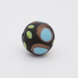 Perla tonda Tribale Ø14 vetro Murano nero opaco decori azzurro/verde chiaro/avventurina con foro per bigiotteria