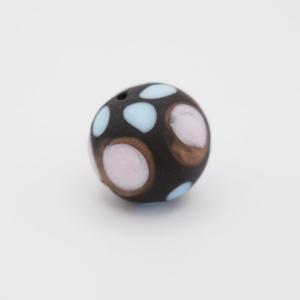 Perla tonda Tribale Ø14 vetro Murano nero opaco decori blu/acquamare/avventurina con foro per bigiotteria