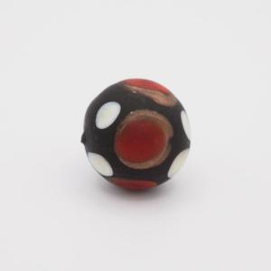 Perla tonda Tribale Ø14 vetro Murano nero opaco decori rosso/bianco/avventurina con foro per bigiotteria