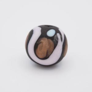 Perla tonda Tribale Ø16 vetro Murano nero opaco decori azzurro/rosa/avventurina con foro per bigiotteria
