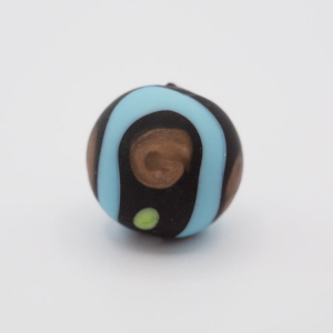 Perla tonda Tribale Ø16 vetro Murano nero opaco decori azzurro/verde chiaro/avventurina con foro per bigiotteria