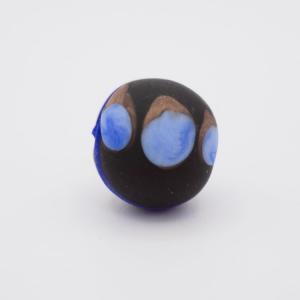 Perla tonda Tribale Ø16 vetro Murano nero opaco decori blu/acquamare/avventurina con foro per bigiotteria