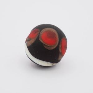 Perla tonda Tribale Ø16 vetro Murano nero opaco decori rosso/bianco/avventurina con foro per bigiotteria