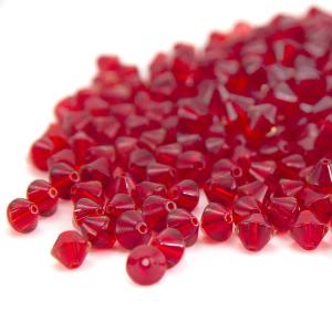 Perle bicono rosse 6 mm trasparenti in mezzo cristallo