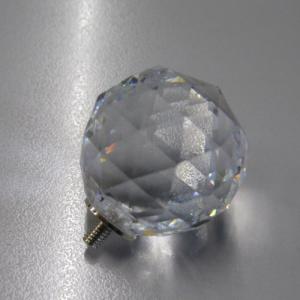 Pomello cristallo molato Ø30 colore puro attacco M4 maschio nickel
