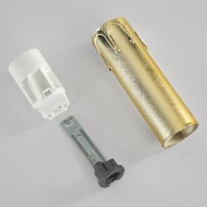 Portalampada a candela 85 mm completo nippel - staffa - anima e guscio oro