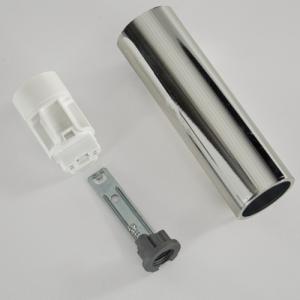 Portalampada E14 cromo liscio 85 mm completo con nippel - staffa e anima