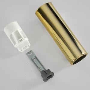 Portalampada E14 oro liscio 65 mm completo con nippel - staffa e anima