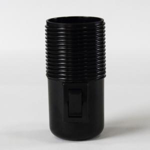 Portalampada filettato nero in plastica E27 con interruttore on/off