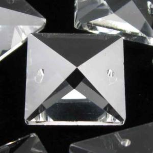 Quadruccio 20 mm colore puro trasparente cristallo vetro sfaccettato 2 fori