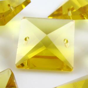 Quadruccio 20 mm giallo cristallo vetro sfaccettato 2 fori