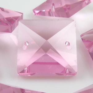 Quadruccio 20 mm rosa cristallo vetro sfaccettato 2 fori